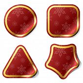 Christmas red stickers with snowflake pattern.
