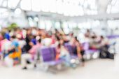 High Key Blurred Image Of Passenger Are Waiting Their Flight On The Departure Gate At The Airport. U