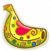 Yellow Banana Paint Doodle