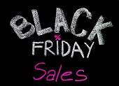 Black Friday Sales Advertisement Handwritten With Chalk On Blackboard