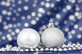 Christmas background with silver Christmas balls