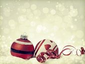 Vintage Christmas background with red Christmas balls and decoration