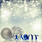 Vintage Christmas background with silver Christmas balls and decoration