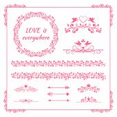 Pink floral element for wedding or birthday