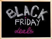 Black Friday Deals Advertisement Handwritten With Chalk On Wooden Frame Blackboard