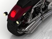 Power Motorcycle With Exhaust View Back