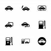 Vector black electric icon set