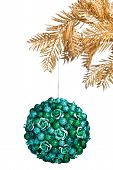 Christmas ball with golden fir-tree