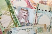 Modern Bahrain Dinars Banknotes, Close Up Background