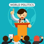 Cartooned World of Politics Concept