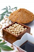 image of soybeans  - Japaneese traditional soybean processed foods Miso - JPG