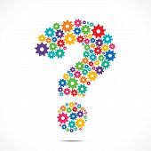 Abstract Question Mark design With colorful Cog Wheels vector
