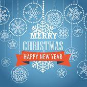 Christmas greeting card with snowflakes on background. Merry Christmas and Happy New Year