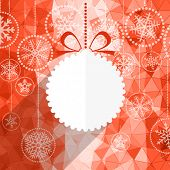 Christmas greeting card with white christmas bauble and snowflake background.