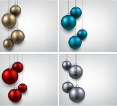 Abstract backgrounds with color christmas balls. Vector illustration.
