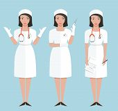 Nurse or Doctor in Poses Showing Making Injection and Diagnose