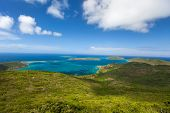 Aerial landscape of beautiful tropical coast of Virgin Gorda island at Caribbean