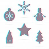 Set Of Six Winter Holiday Anagliph Flat Icon