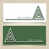 Christmas banners in green and white, with simple continuous line and drop shadow  creating a Christmas tree. EPS10 vector format