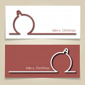 Christmas banners in red and white, with simple continuous line and drop shadow  creating a Christmas tree bauble. EPS10 vector format