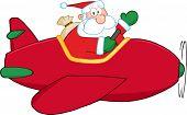 Santa Claus Flying A Plane And Waving