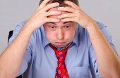 Worried tired businessman