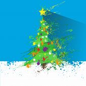 christmas decorated tree abstract ink splash paint