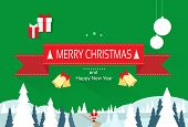 christmas greeting card with merry christmas and happy new year