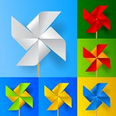 Multicolored toy paper windmill propeller set on backgrounds of different colors. Vector illustration