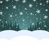 Abstract blank Christmas snowfall card vector template with copy space.