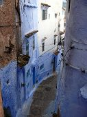 Curved Street In Blue In Moroccan Chefchaouen