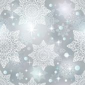Abstract seamless Christmas snowflake grey blue vector pattern.