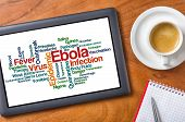 Tablet on a wooden desk - Ebola