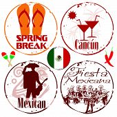 picture of mexican fiesta  - Set of 4 stamps Mexican Fiesta and spring break - JPG