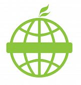 Eco green global icon isolated on a white background with copy space.