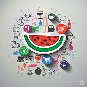 Meals and drinks collage with icons background