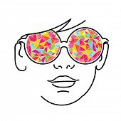 Face with colorful kaleidoscopic glasses