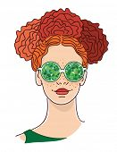Young woman with red hairs and kaleidoscopic glasses