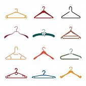 Set of different colorful hangers