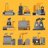 Industrial building factories and plants icons set - flat design