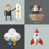 Set of flat design concept images for infographics, business, web,