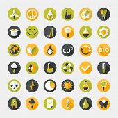 Vector illustration of eco icons - flat design