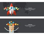 Set of flat design concept images for infographics, business, web, startup, learning, information