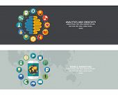 Set of flat design concept images for infographics, business, web, education, mobile marketing