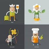 Set of flat design concept images for infographics, business, web, kitchen, ecology, travel