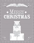 Christmas Card In The Style Of Carving Paper Vector