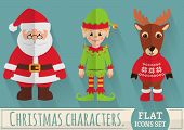 Flat Christmas Characters: Santa, Elf And Reindeer. Vector Set.
