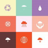Weather set. Flat color vector icons.