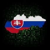 Slovakia map flag on hex code illustration