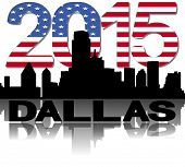 Dallas skyline 2015 flag text illustration